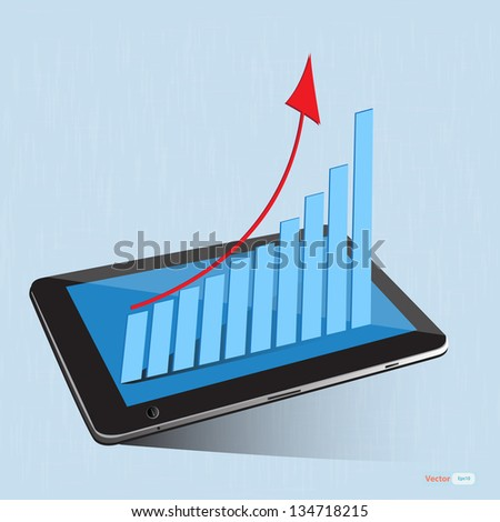 business graph on the screen tablet,vector eps10 - stock vector