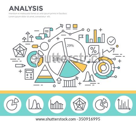 Business graph statistics, data analysis, financial report, market stats concept illustration, thin line flat design - stock vector