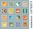Business Graph sticker icon set.Illustration eps10 - stock vector