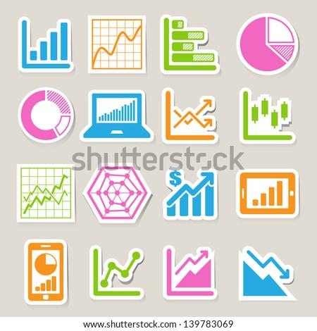 Business Graph sticker icon set.Illustration eps10 - stock vector