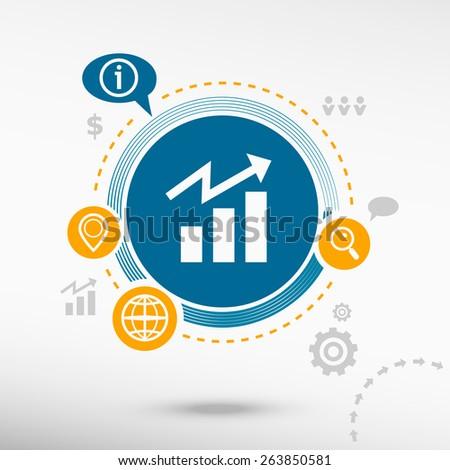 Business graph web icon. Creative design elements. Flat design concept - stock vector