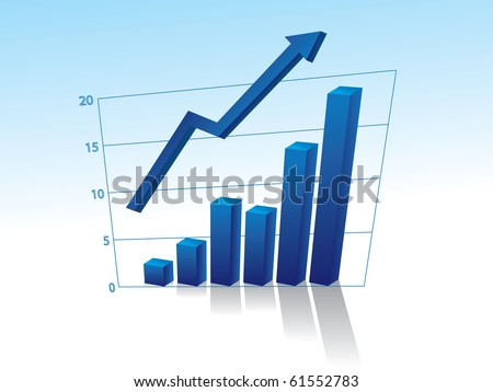 Business graph with arrow - stock vector