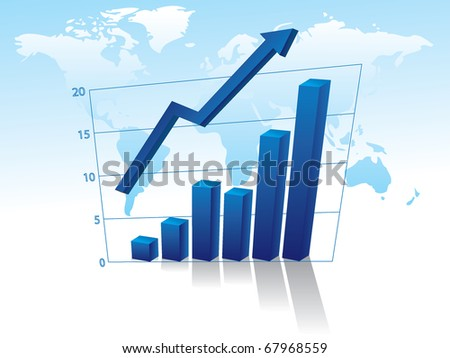 Business graph with arrow on world map background - illustration
