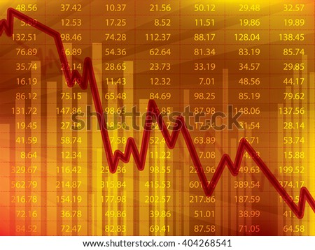 Business graph with arrow showing loss and crisis financial on the stock exchange. - stock vector