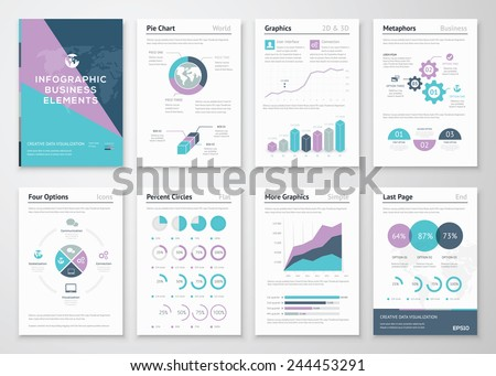 Business Graphics In Infographic Brochure Illustration Style. Vector  Illustrations Of Modern Info Graphics. Use