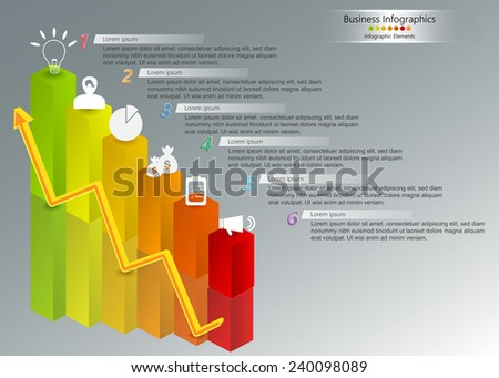 Business Graphs/Charts 3D With Number, Icon & Text Information Design, Reflected Objects,  Financial and Business Infographic, Workflow/Element Layout Design. Vector Illustration - stock vector