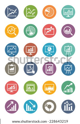 Business Graphs & Charts Icons - Dot Series  - stock vector