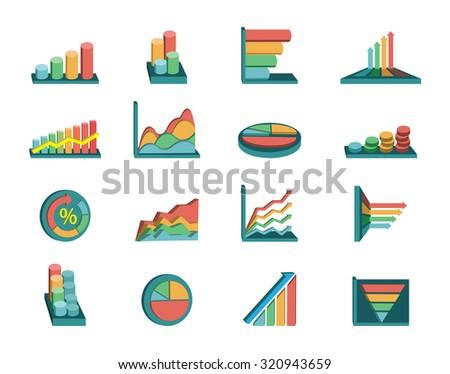 Business graphs set - stock vector