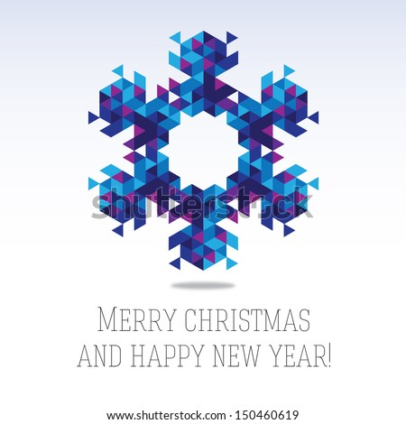 Business greeting christmas and New year card. Abstract triangle snowflake. Winter season 2014 - stock vector