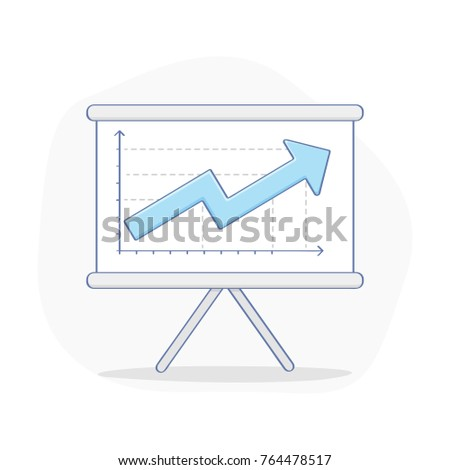 Business Growing Chart Presentation Concept Whiteboard Stock Vector - Unique outline template for presentation concept