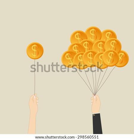 Business growing money concept. Businessman holding Dollar money balloons. Success business. Vector illustration - stock vector