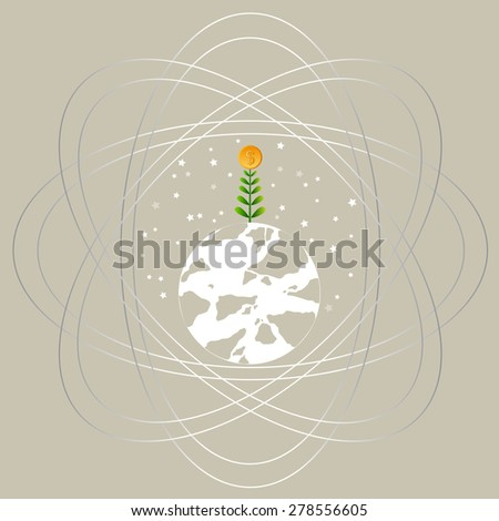 Business growing money concept. Dollar tree growing on a Heart. Concept of global trade. Vector illustration - stock vector