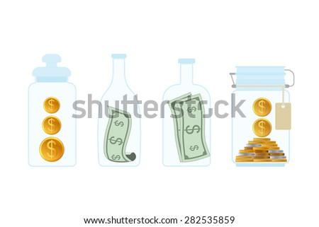 Business growing money concept. Saving moneys. Money in glass Bottles. Vector illustration - stock vector