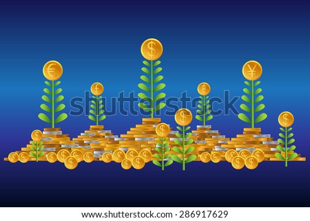 Business growing money concept. The pile of money. Concept of global trade. Vector illustration - stock vector