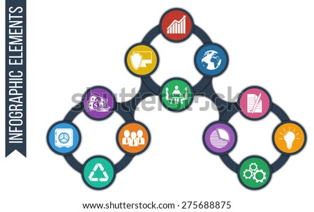 Business. Growth abstract background with connected circles and integrated icons for development, security, globality, solutions, innovations, justice, investment. Vector infographic illustration - stock vector
