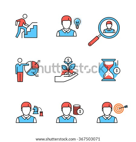 Business growth and human resource management flat style icons. Thin line art illustrations isolated on white. - stock vector