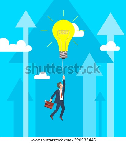 Business Growth and Innovation Concept. Businessman flying on big light bulb. Vector illustration - stock vector