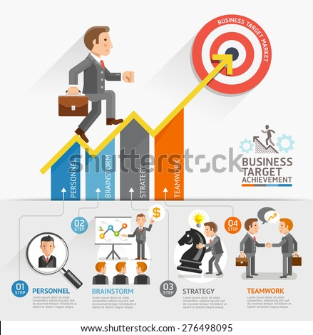 Business Growth Arrow Strategies Concept. Businessman walking on the arrow. Can be used for workflow layout, banner, diagram, step up options, web design, timeline, infographic template. - stock vector