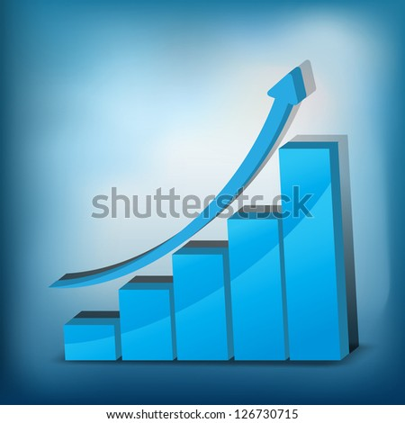Business Growth - blue graph - 3D illustration. - stock vector