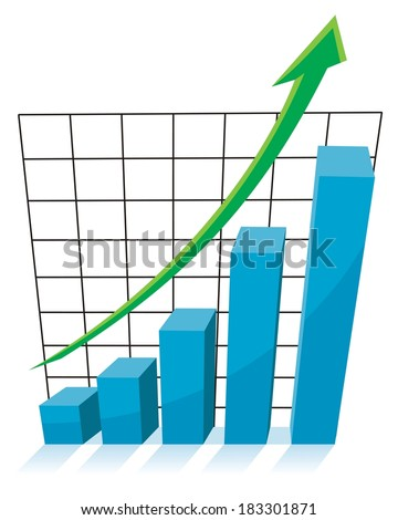 business growth concept, chart graph with green arrow pointing up - stock vector