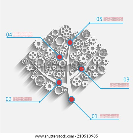 Business growth concept, creative tree with gears, vector eps10 infographic design - stock vector