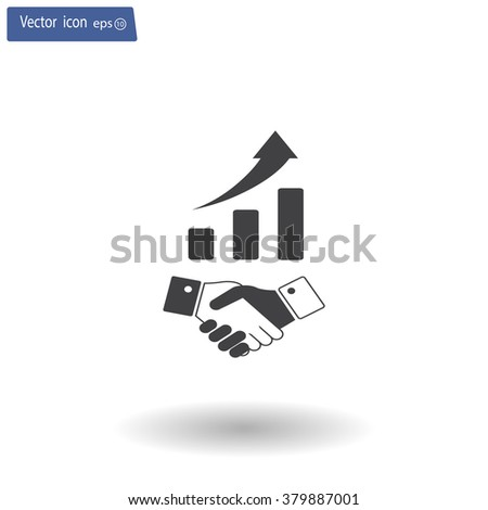 Business growth concept. Handshake with graph stock. - stock vector
