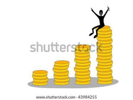 Business growth diagram with coin columns and happy businessman sitting at top - stock vector