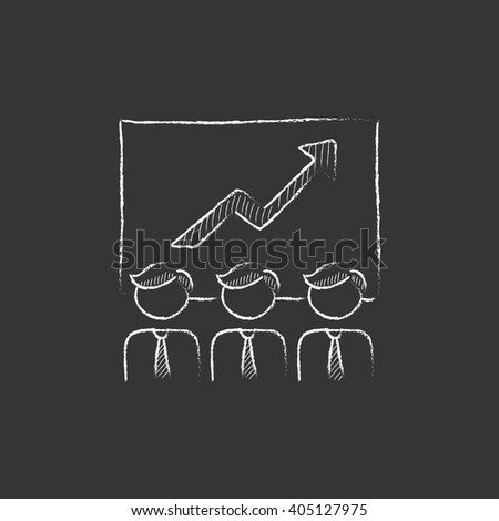 Business growth. Drawn in chalk icon. - stock vector