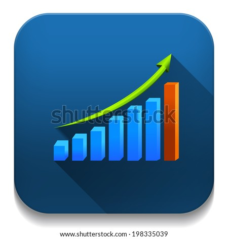 business growth graph With long shadow over app button - stock vector