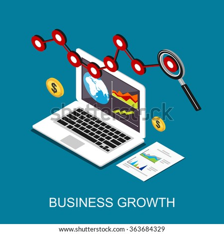 Business growth. Monitoring business profit. Flat 3d isometric concept illustration.  - stock vector
