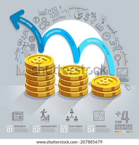 Business growth step infographics option. Vector illustration. can be used for workflow layout, banner, diagram, number options, step up options, web design. - stock vector