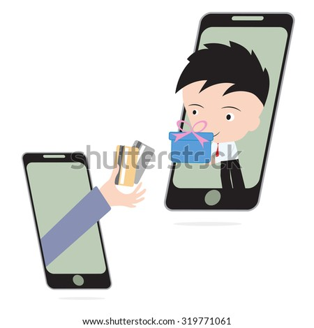 business hand, give credit card and businessman delivery gift or goods via mobile system, e-commerce shopping online concept - stock vector