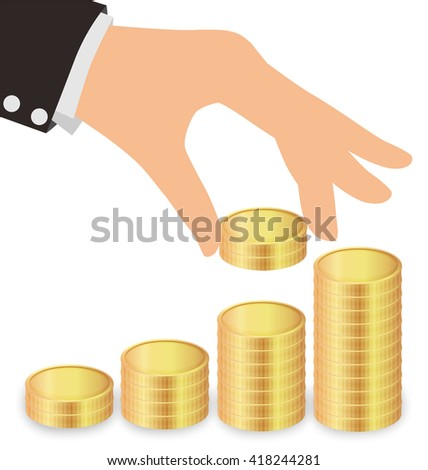 Business Hand Giving Golden Coins To Stacks Of Coins, Saving Money Concept - stock vector