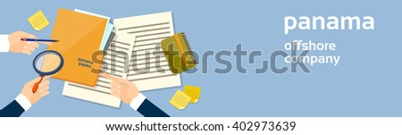 Business Hand Hold Magnifying Glass Offshore Panama Papers Folder Documents Office Desk Banner Vector Illustration - stock vector