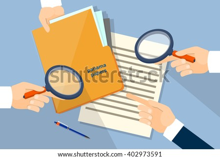 Business Hand Hold Magnifying Glass Offshore Panama Papers Folder Documents Office Desk Vector Illustration - stock vector