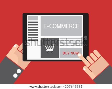 Business hand order e-commerce website on tablet. - stock vector