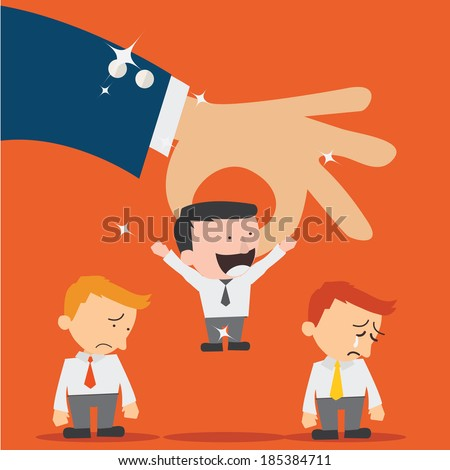 Business hand picking up a  businessman.Human Resources concept - stock vector