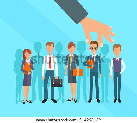 Business hand picking up a businessman. Human Resources concept - stock vector