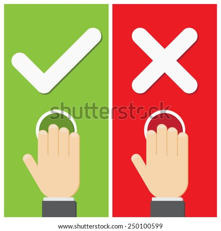 Business hand press button with true and false sign. Vector illustration of positive and negative.  - stock vector