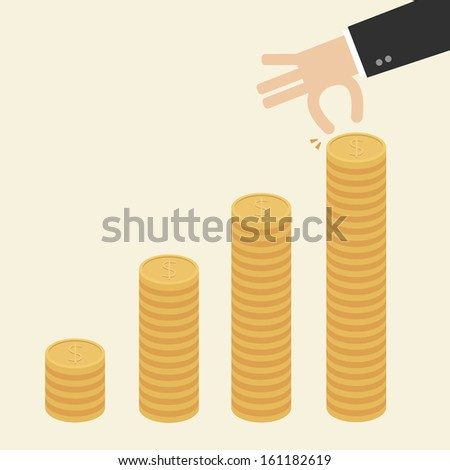 Business Hand put coins to stack of coins