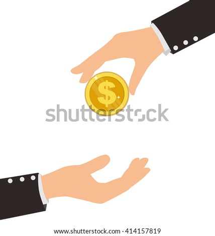 Business Hand Receiving Coin From Another Person, Finance Concept - stock vector