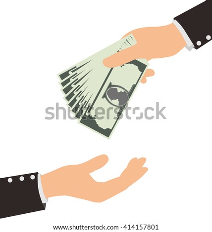 Business Hand Receiving Money Bill From Another Person, Finance Concept - stock vector