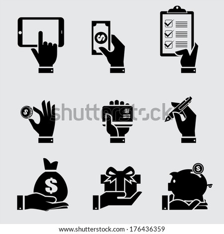 Business hand with object icons set, Vector illustration  - stock vector