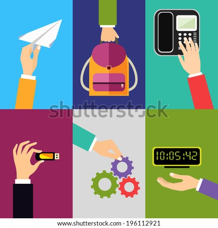 Business hands gestures design elements of holding paper plane backpack touching phone isolated vector illustration - stock vector