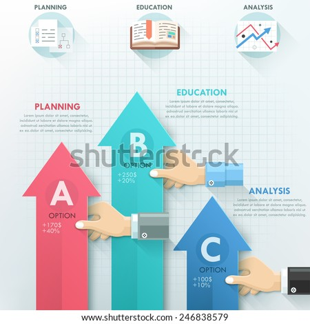 Business hands teamwork infographics template. Vector illustration. Can be used for workflow layout, banner, diagram, number options, step up options, web design, timeline. - stock vector