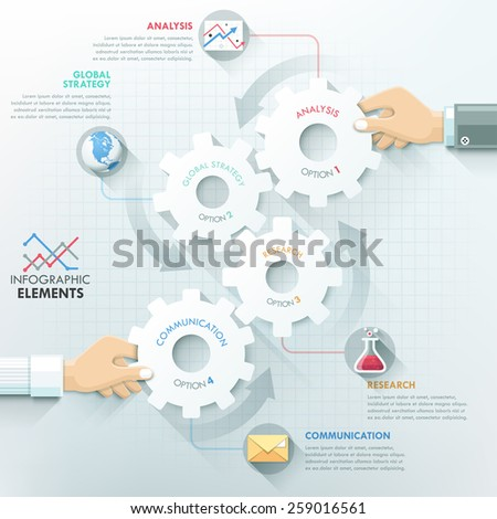 Business hands teamwork infographics template with paper gear elements. Vector illustration. Can be used for workflow layout, banner, diagram, number options, step up options, web design, timeline. - stock vector
