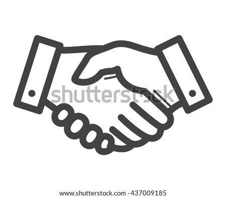 Business handshake / agreement handshake line art icon