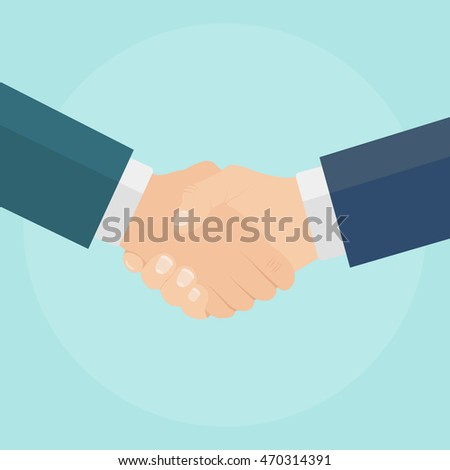 Business handshake isolated on blue background. Holding, shaking hands. Partnership, meeting a partner. Vector illustration. Flat style.