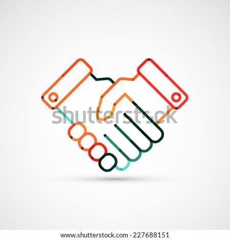 Business handshake. Line style vector illustration - stock vector