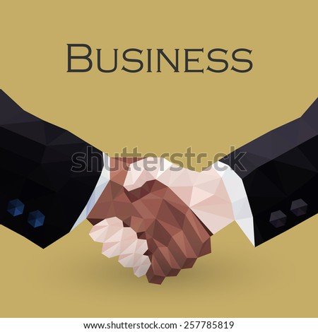 business handshake - vector illustration in low poly style  - stock vector